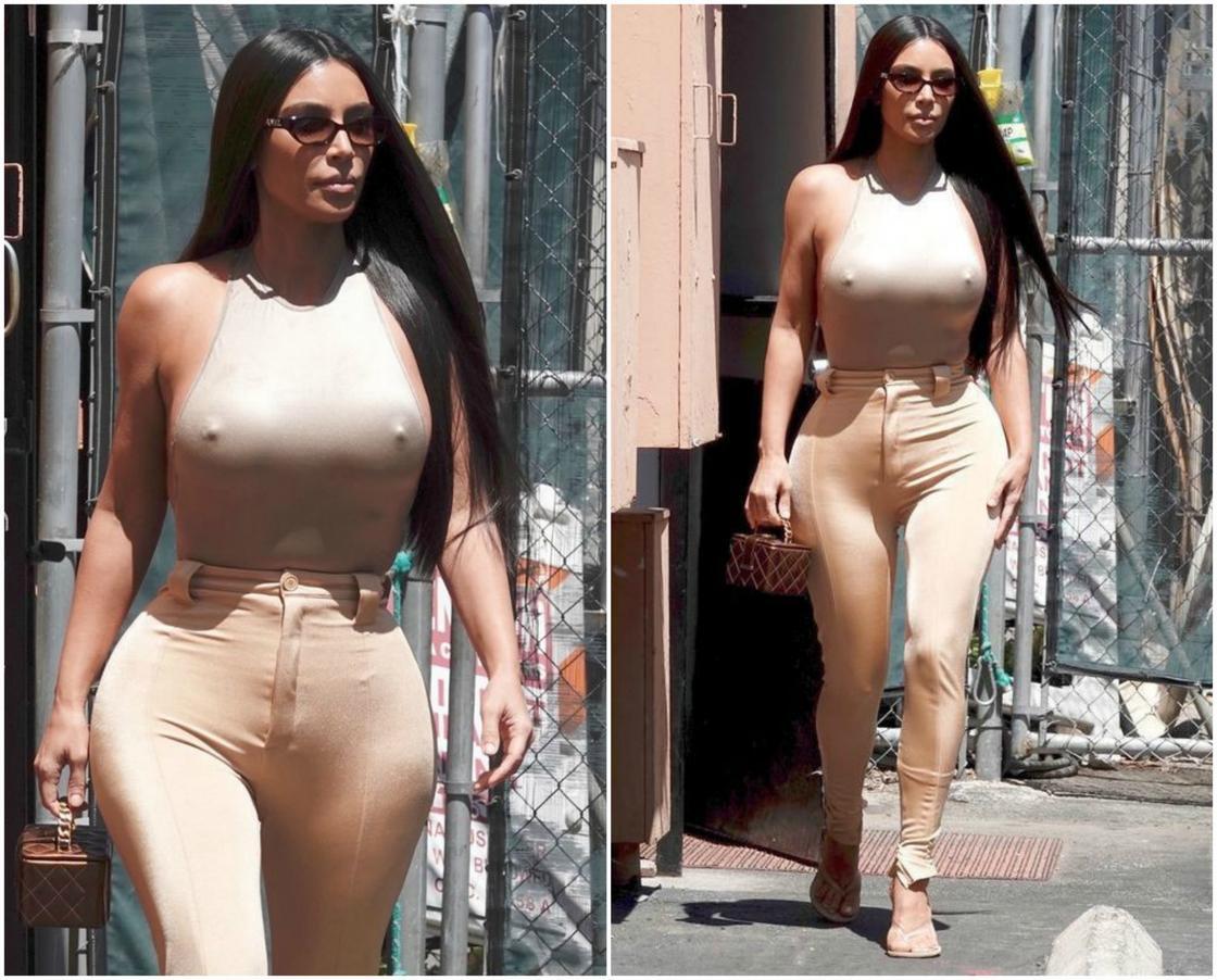 Ким Кардашьян снова забыла о нижнем белье и засветила соски (фото)