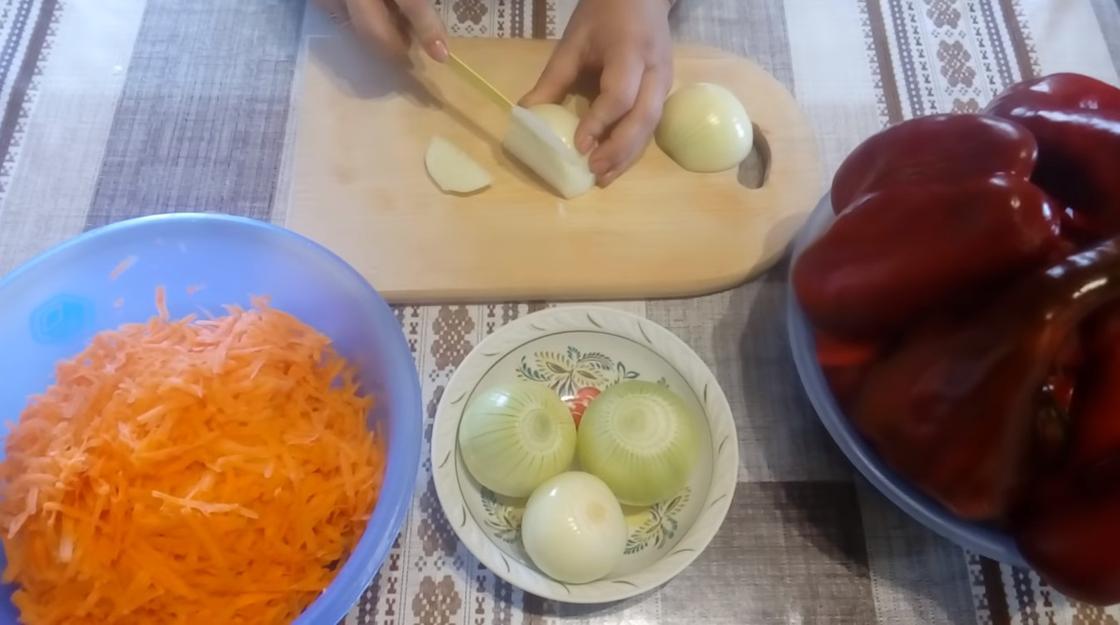 Нарезка овощей для лечо