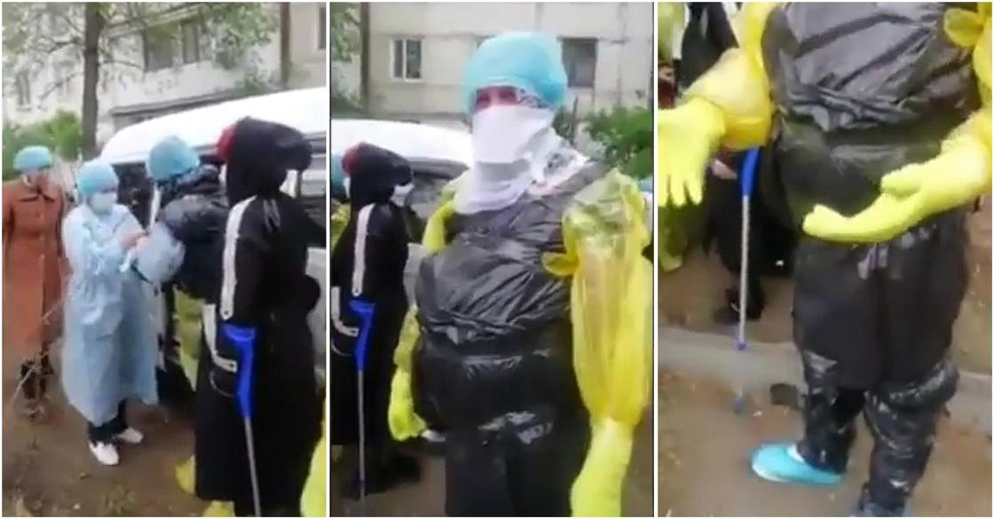 «Это не медики»: в МЗ ответили на видео с облаченными в мусорные пакеты людьми