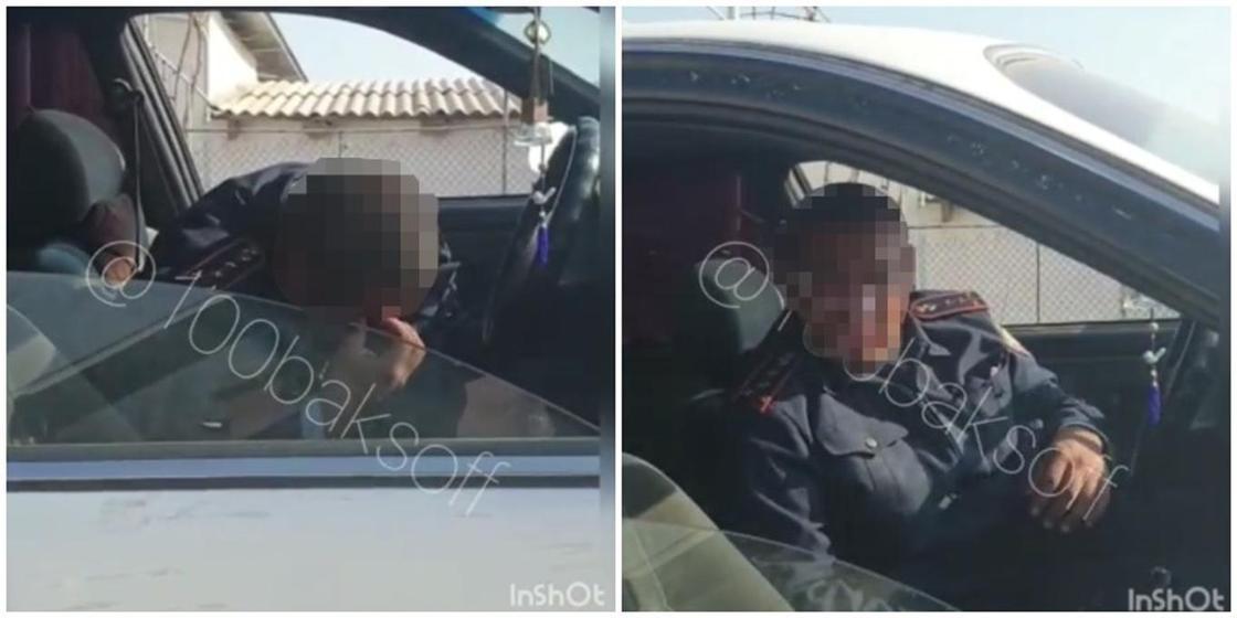 Странное поведение полицейского прокомментировали в ДП Туркестанской области