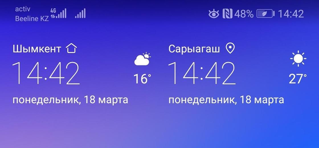 """""""Мы не удивляемся"""": в Сарыагаше потеплело до 28 градусов"""
