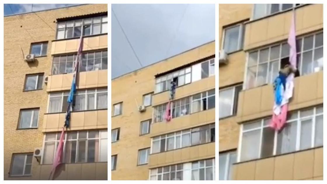 Девочка спустилась к подруге по веревке с последнего этажа в Нур-Султане (видео)