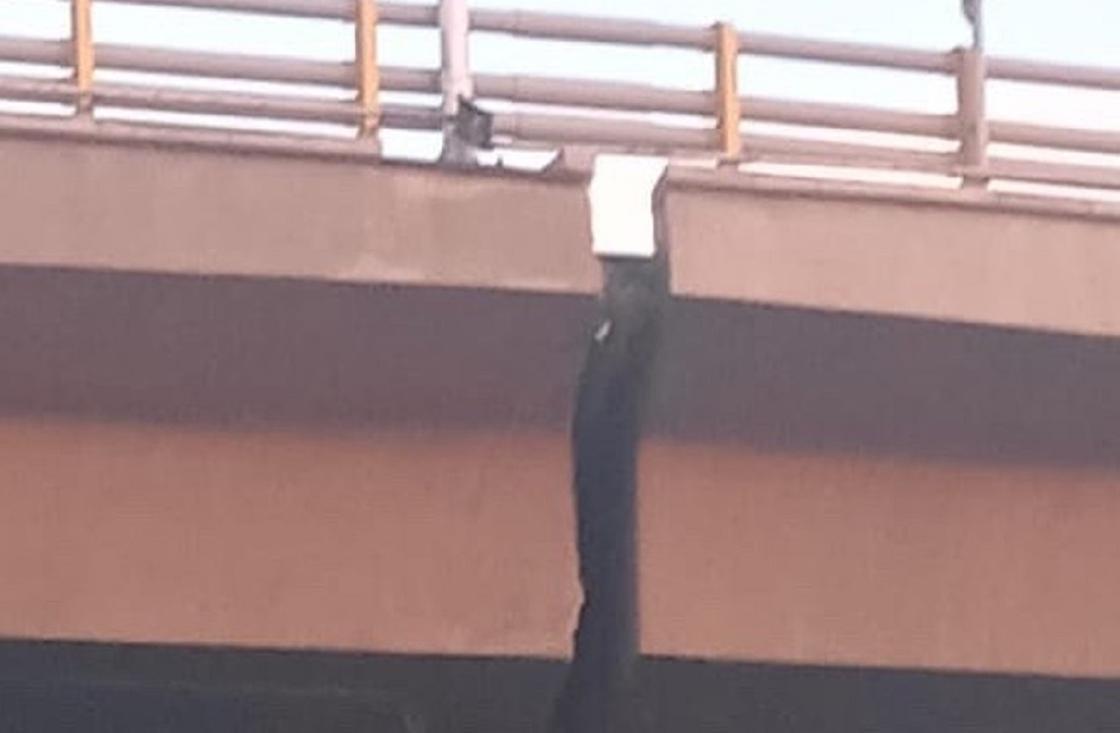 Алматинцев напугала широкая трещина в мосту