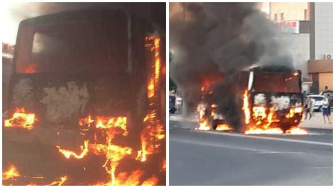 Пассажирский автобус сгорел дотла в Актау