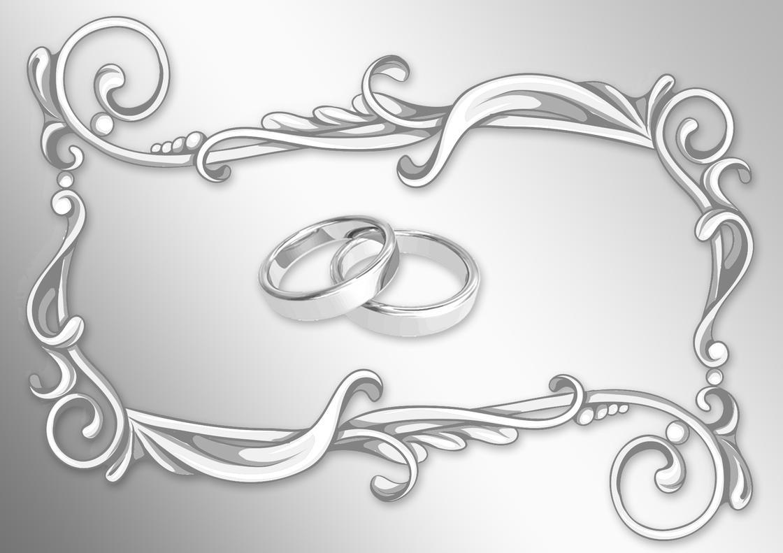 Серебряные кольца внутри красивой рамки