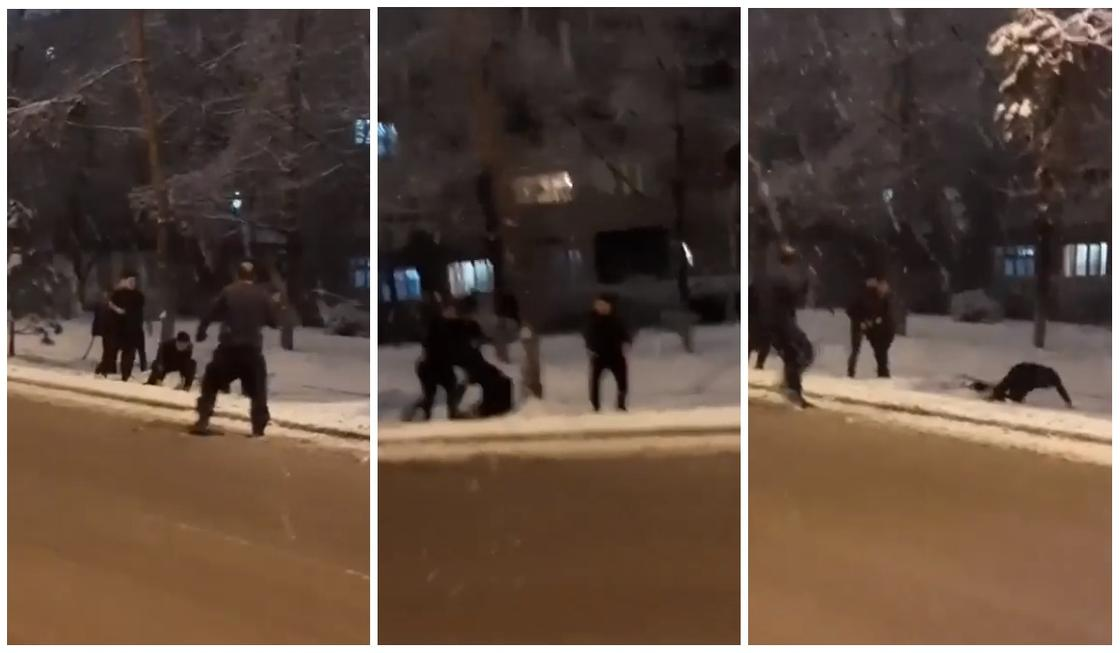 Массовую драку в Алматы сняли на видео