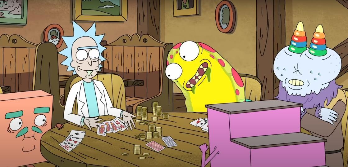Рик играет в карты с инопланетными существами