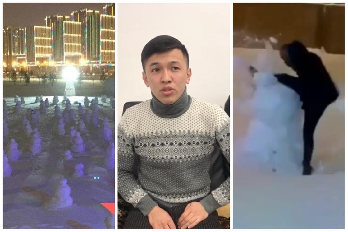 """""""Напавший"""" на армию снеговиков астанчанин публично извинился (видео)"""