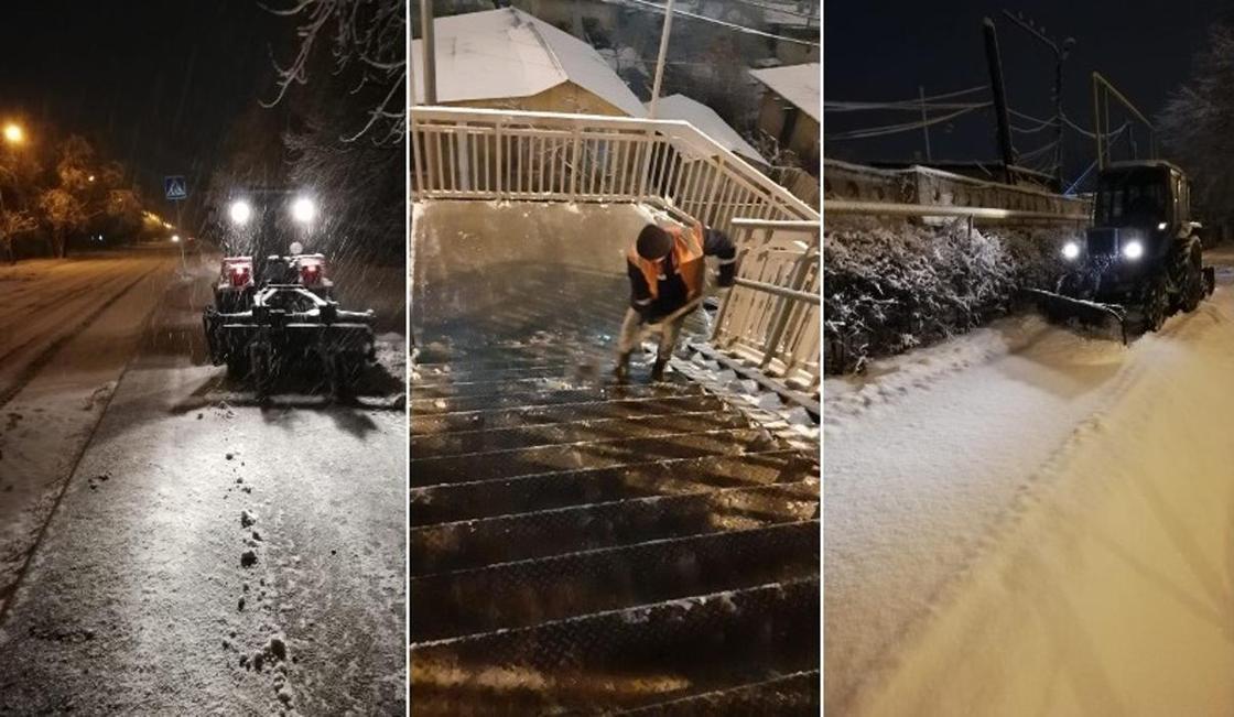 Как всю ночь убирали снег в Алматы, показали в акимате (фото)