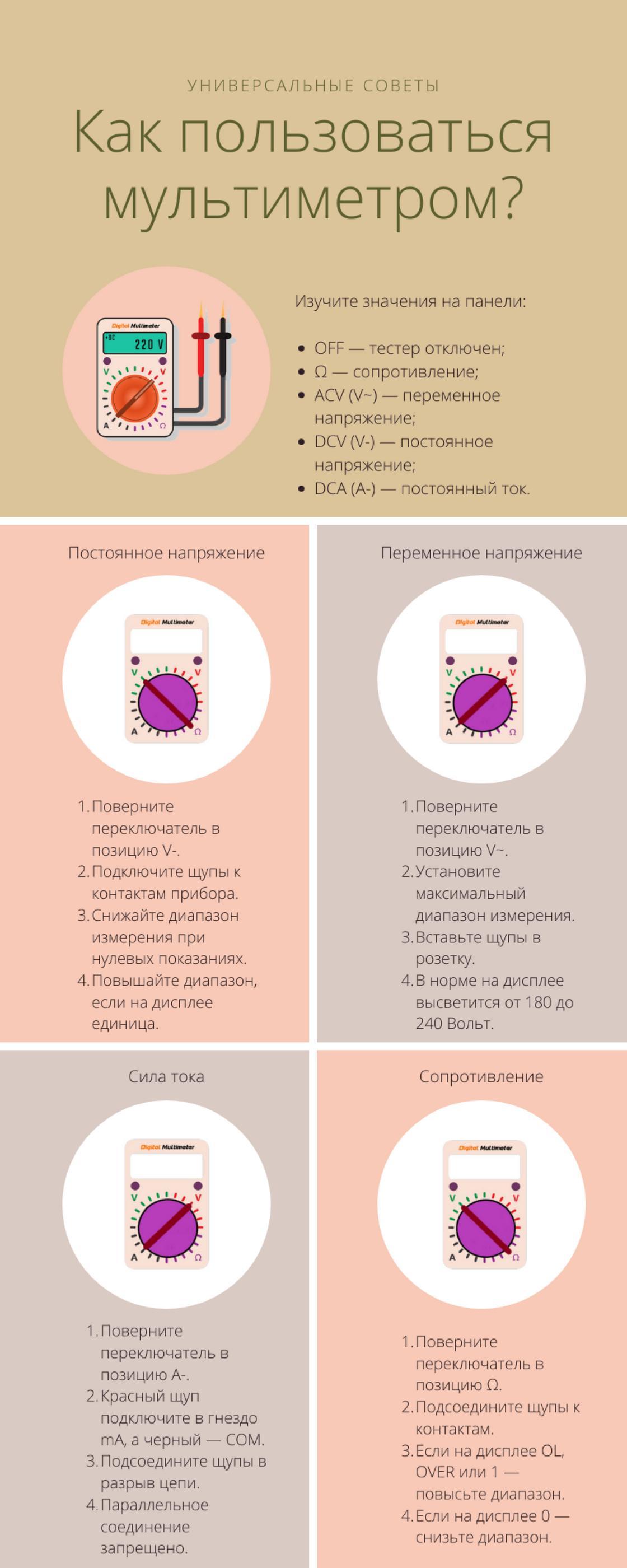 Как пользоваться мультиметром: универсальные советы