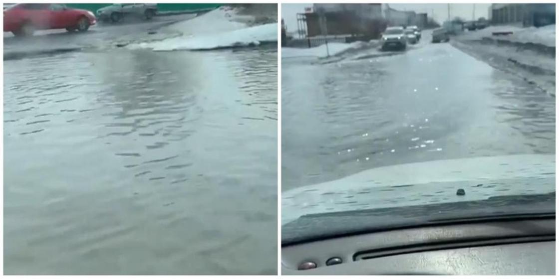 Улицы Уральска затопило из-за таяния снега