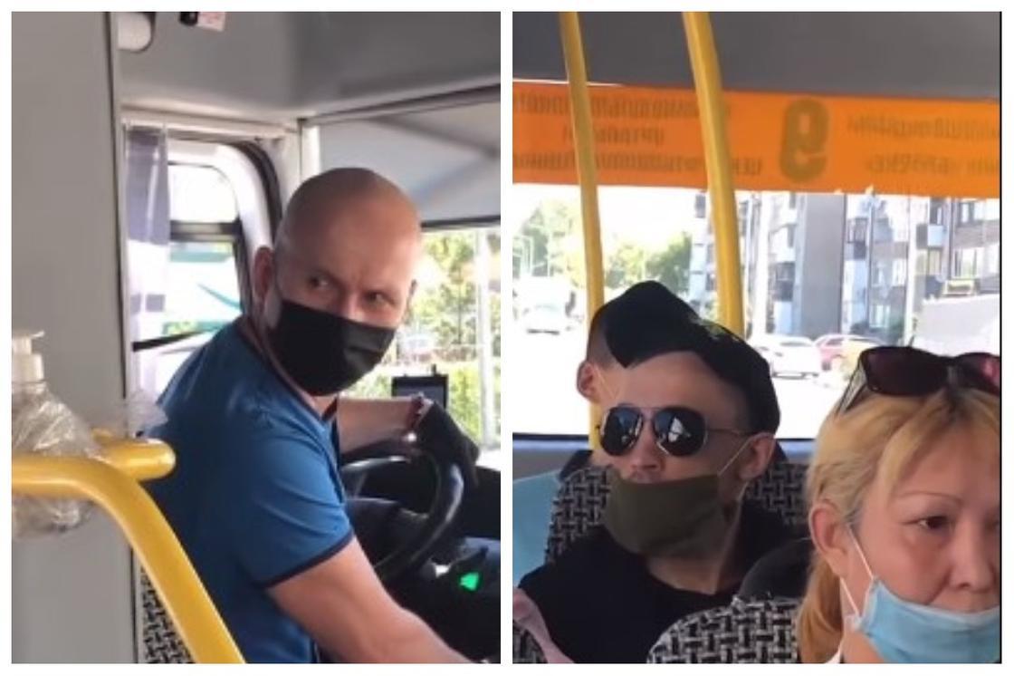"""""""Маска қайда?"""": Петропавлда жүргізуші автобусқа маскасы жоқ жолаушыларды кіргізбей қойды"""
