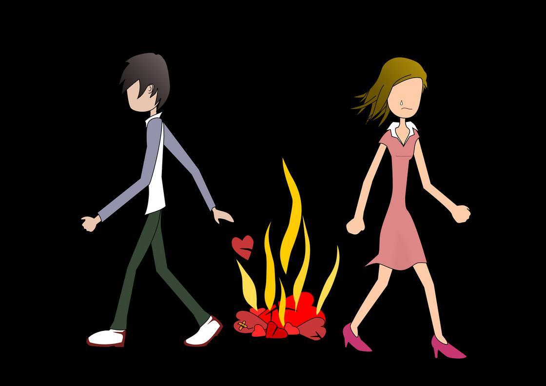 Пара уходит в разные стороны от костра, где горятсердца (шарж)