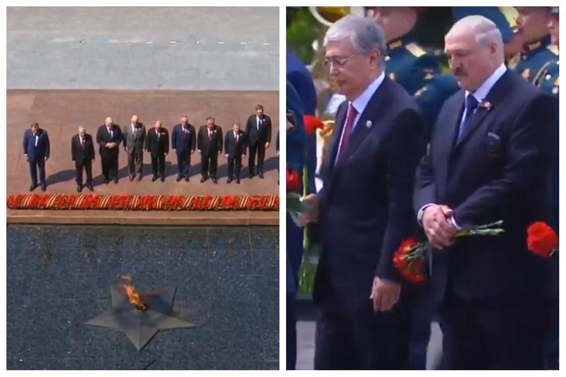 Тоқаев басқа президенттермен Белгісіз сарбаздың қабіріне гүл қойды (видео)