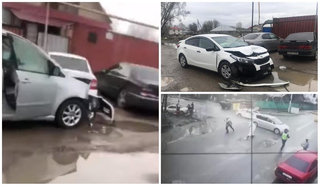 Водитель протаранил блокпост в Алматы: полицейского увезли на скорой с переломами (видео)