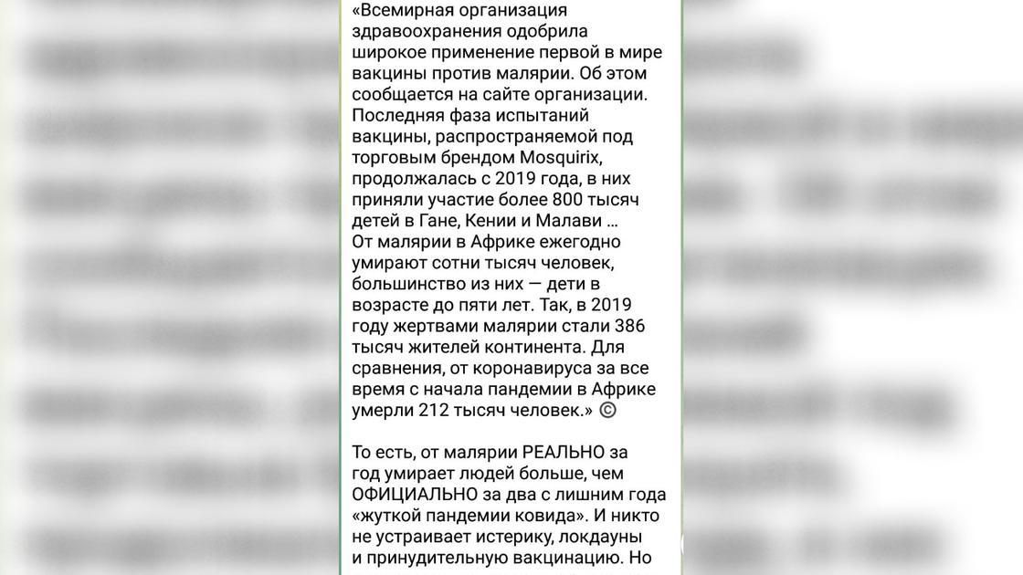 Отрывок из ложного сообщения в Telegram