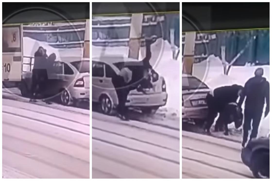 Водитель автобуса набросился на мужчину из легковушки