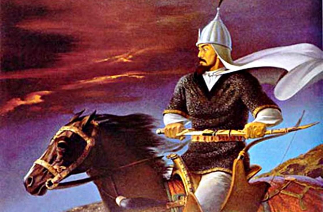 Портрет Кенесары верхом на коне с саблей