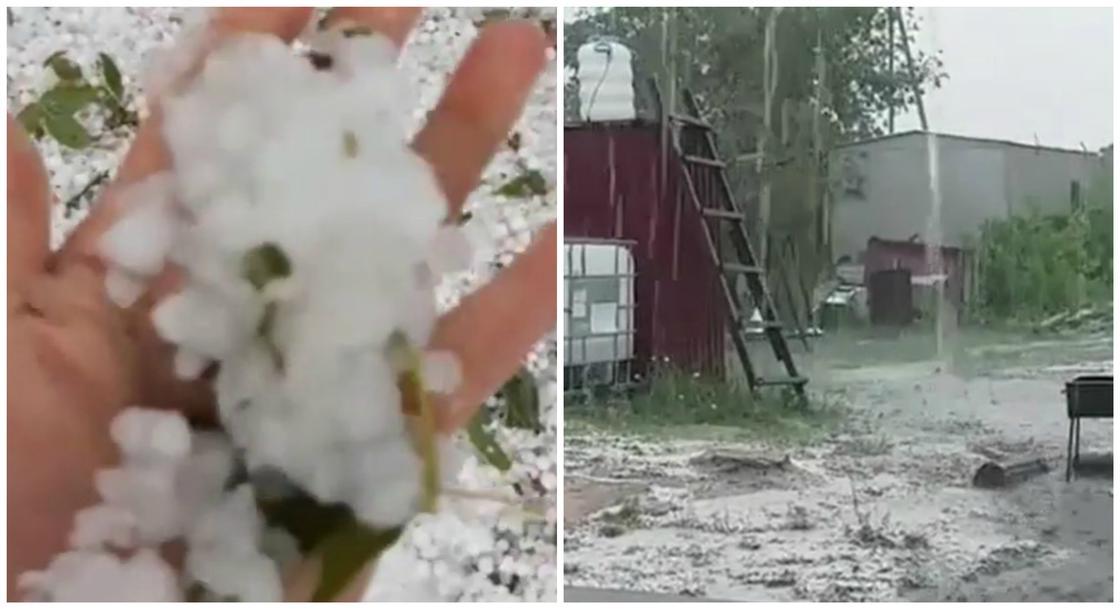 Зима в июле: град с дождем обрушились на Баянаул (видео)