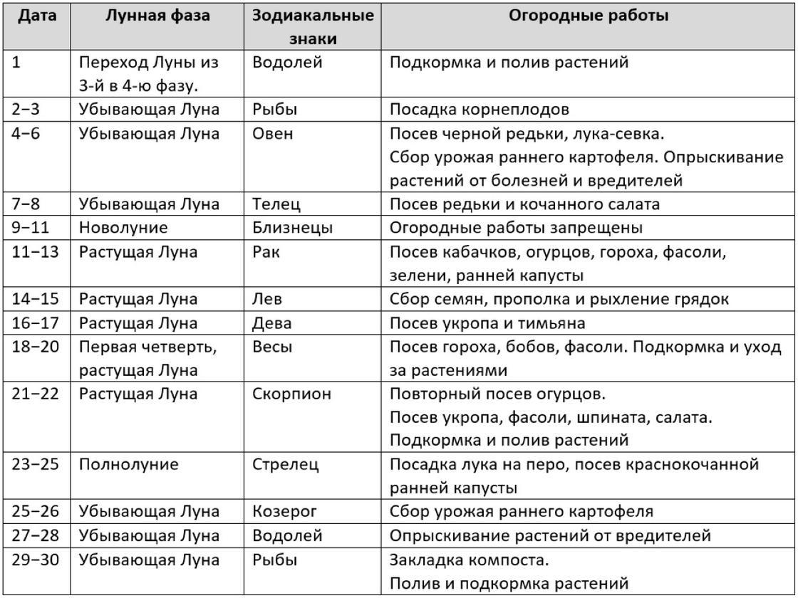 Таблица огородных работ в июне 2021 года