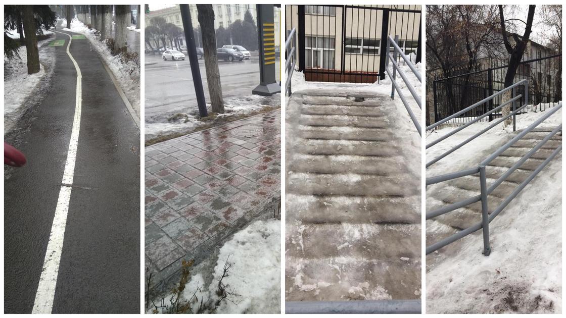 Алматинцы пожаловались на плитку, которая после дождя покрылась наледью