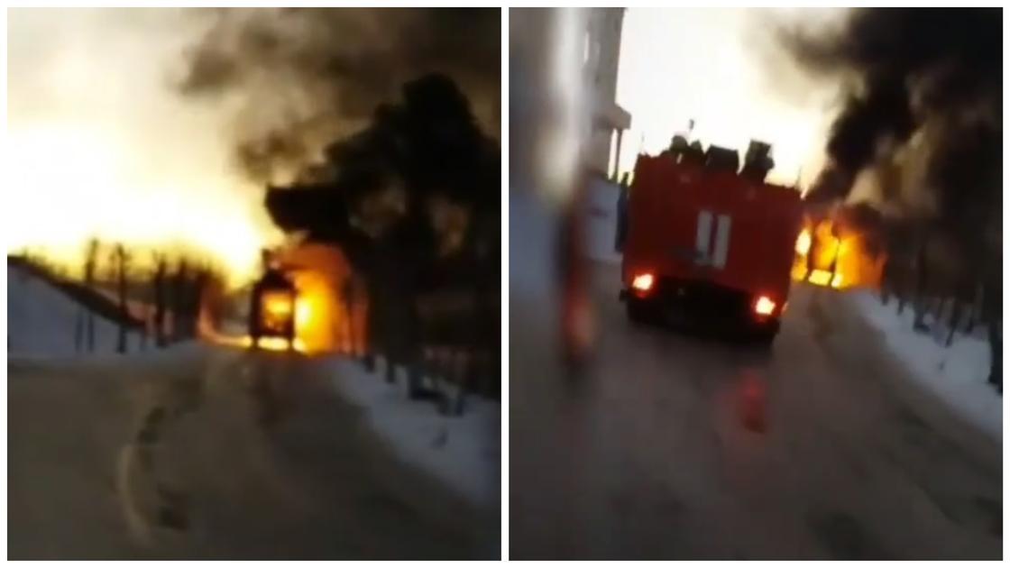 Скорая помощь сгорела в Экибастузе (видео)