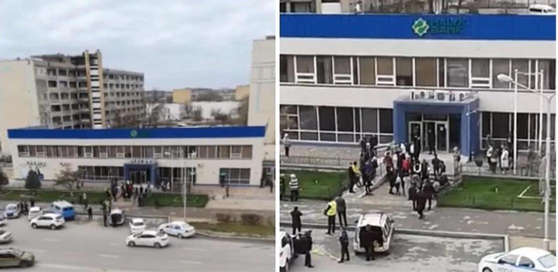 Ақтауда банктегі күдікті сөмкеге бола адамдар эвакуацияланды (видео)