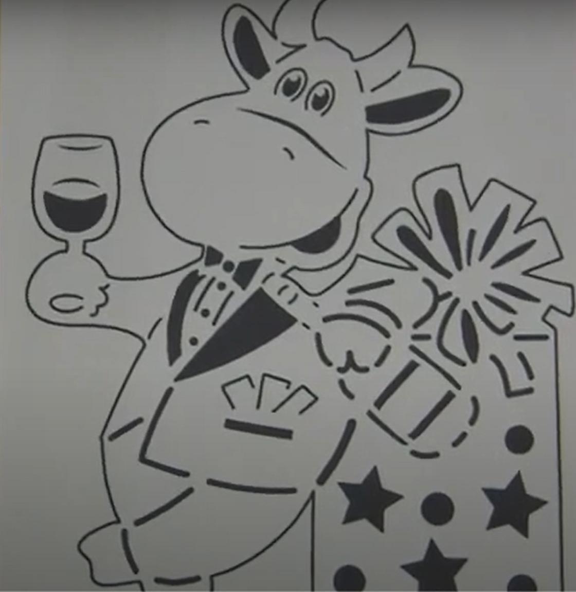 Трафарет мультяшного быка