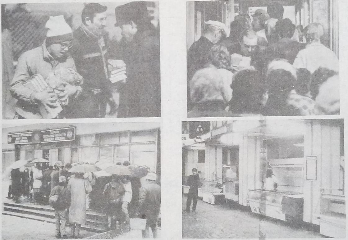 """""""Казправда"""" газетінде 1993 жылдың 16 қарашасында жарияланған фотосуреттер Фото: KAZ.NUR.KZ."""