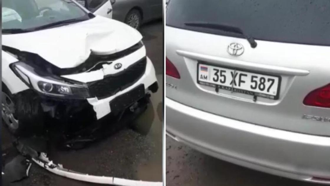 Автомобиль протаранил блокпост в Алматы: полицейский получил переломы ног (видео)
