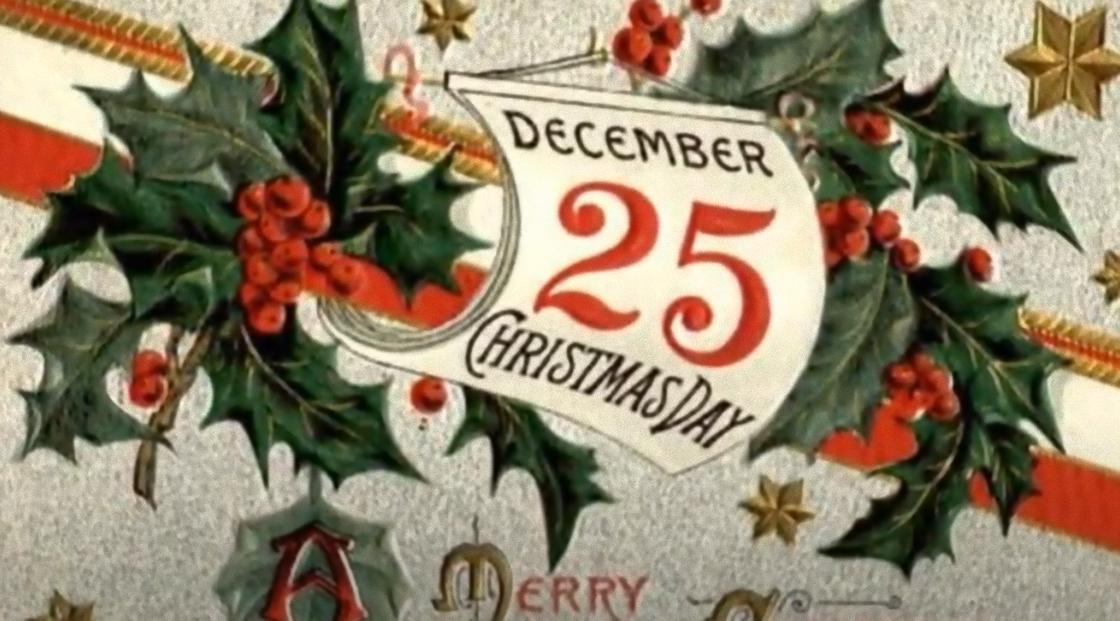 Открытка с датой католического Рождества
