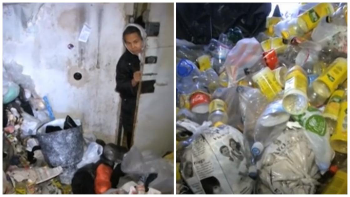 Женщина справляет нужду в пакеты и выбрасывает их в окно в Актобе