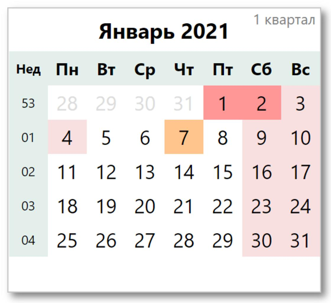 Календарь праздников на январь 2021 года