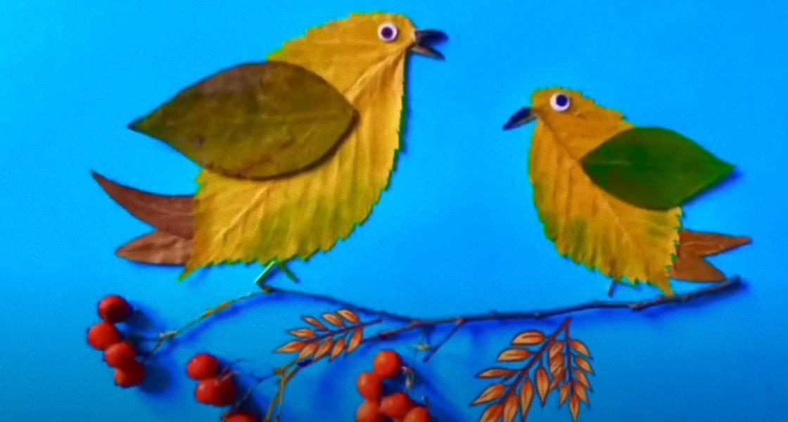 Птички на ветке из листьев