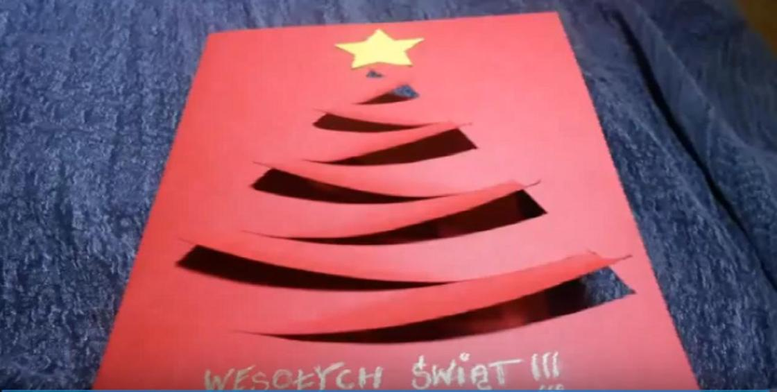 Открытка на Новый год с вырезами в виде елочки