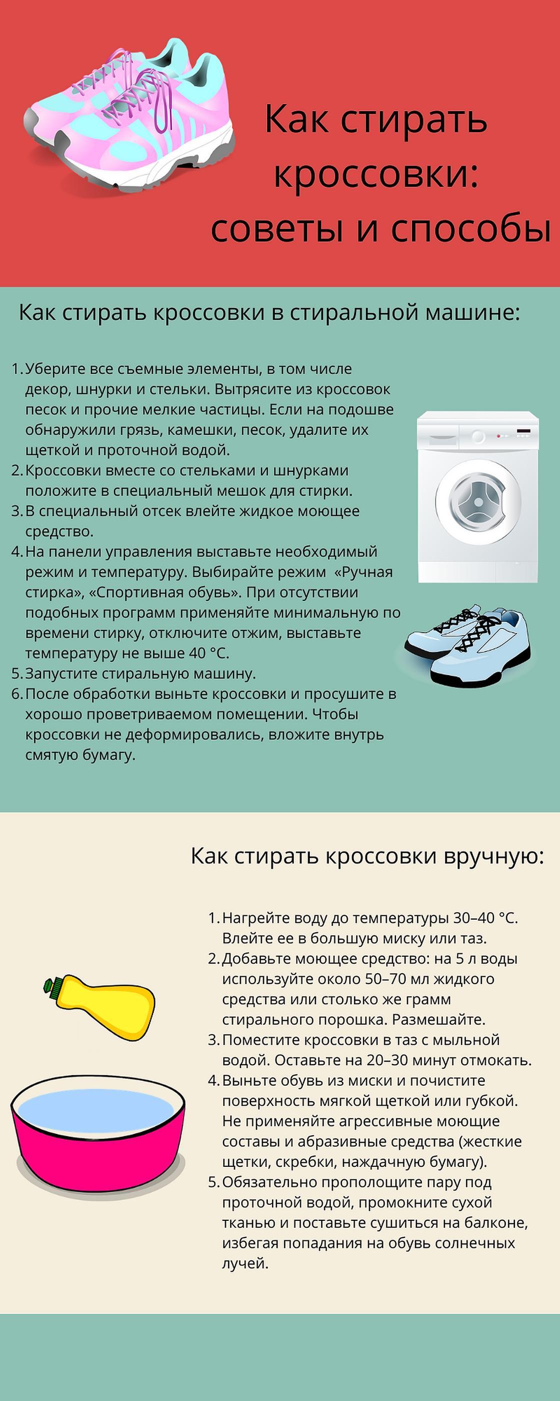 Инфографика: как стирать кроссовки