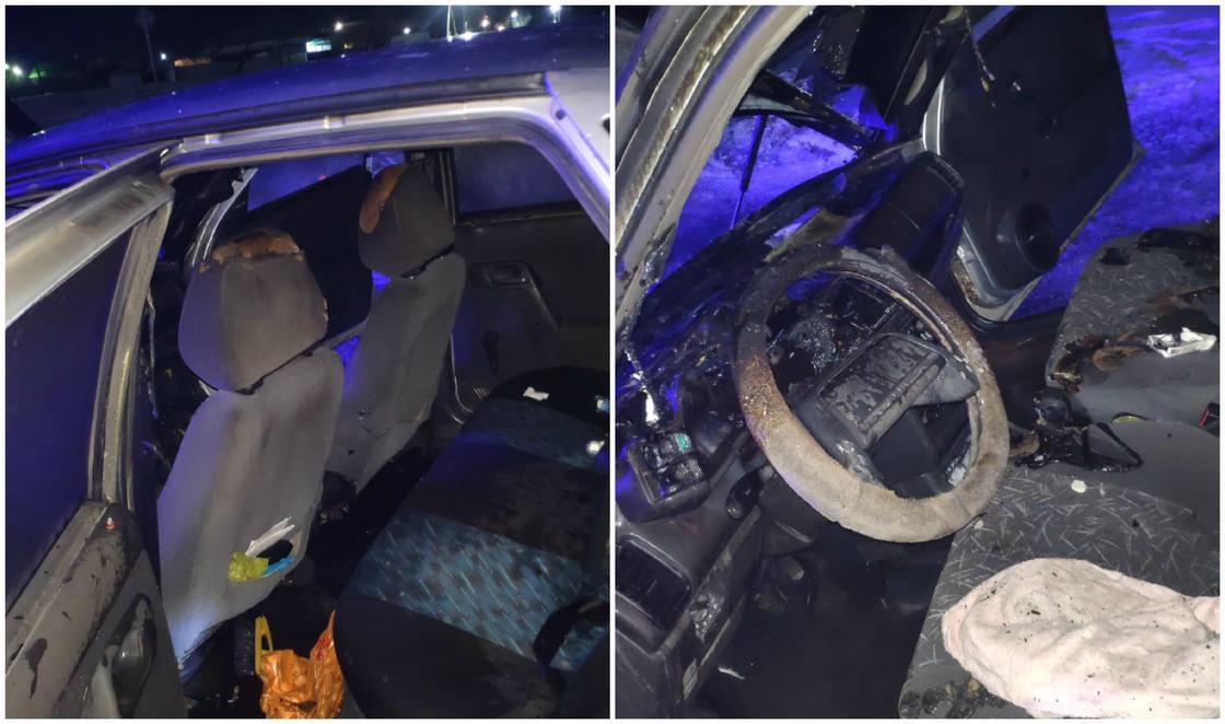 Машина загорелась в ЗКО