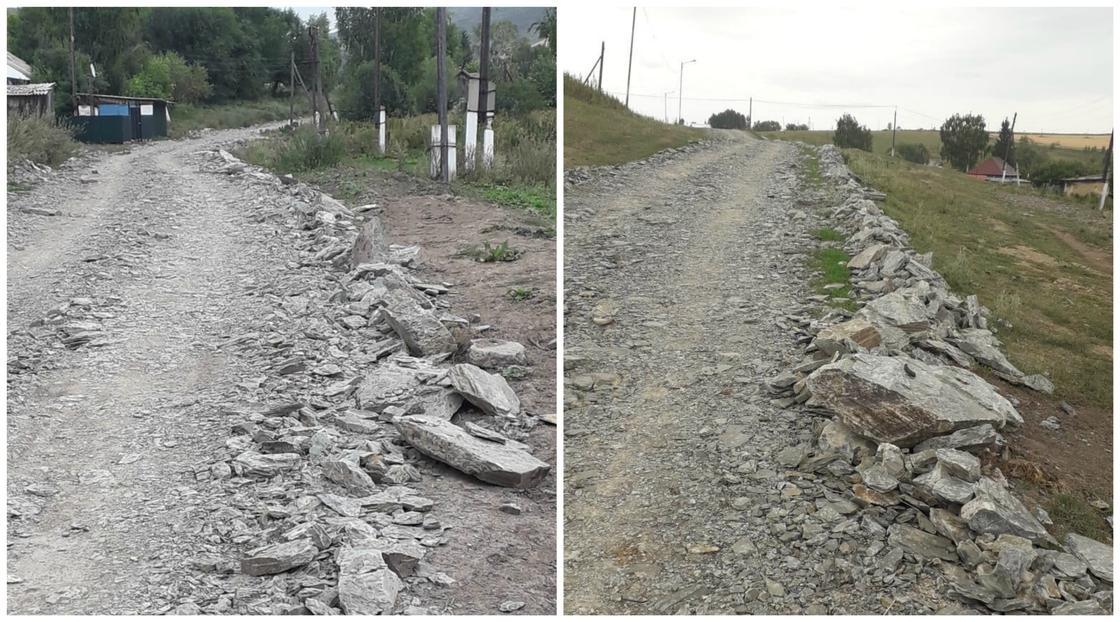 Дорога в селе Новополяковка в Восточно-Казахстанской области