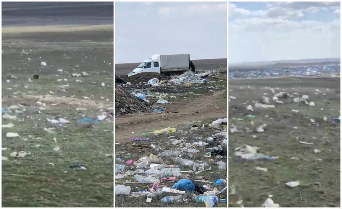 """""""Мы задыхаемся"""": степь завалили мусором в Актюбинской области (видео)"""