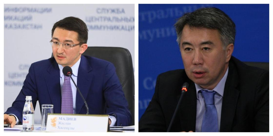 Жаслан Мәдиев, Серік Жұманғарин. Фото: bil-edu.kz, bnews.kz