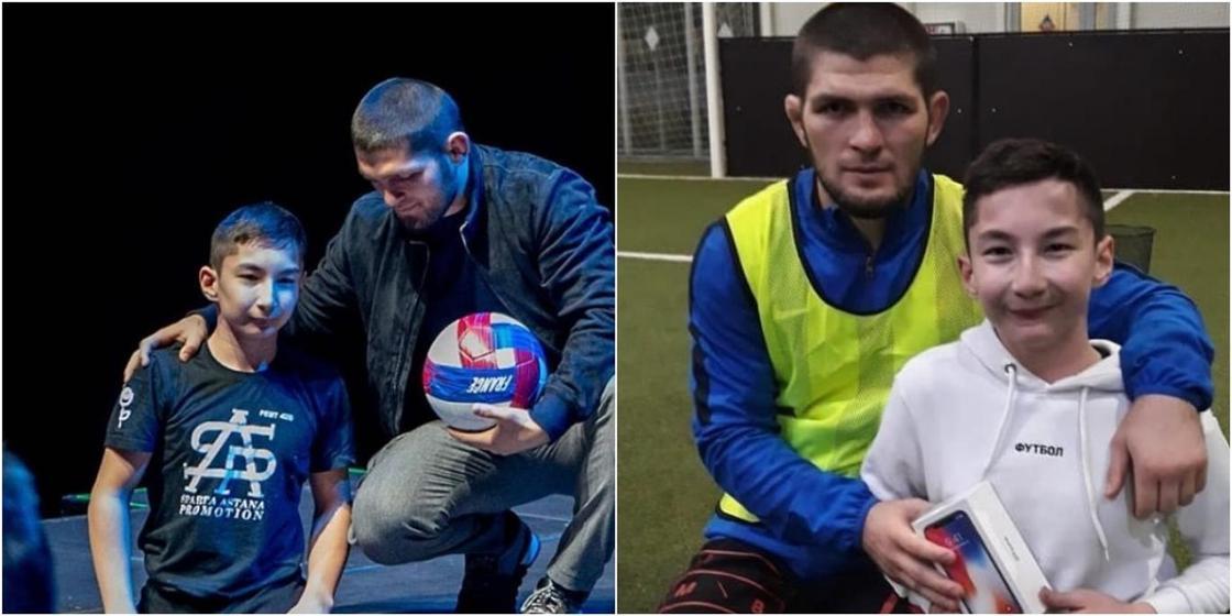 Казахстанский «Ник Вуйчич» подарил Хабибу мяч с автографом Неймара (видео)