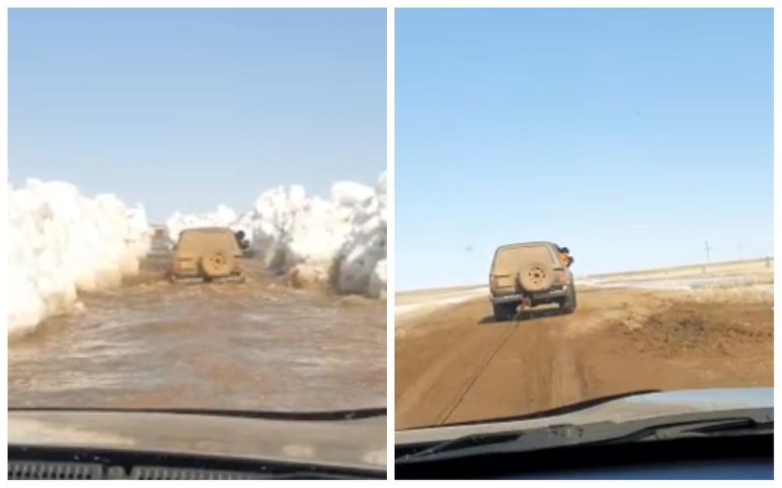 Автодорогу затопило в Карагандинской области (видео)
