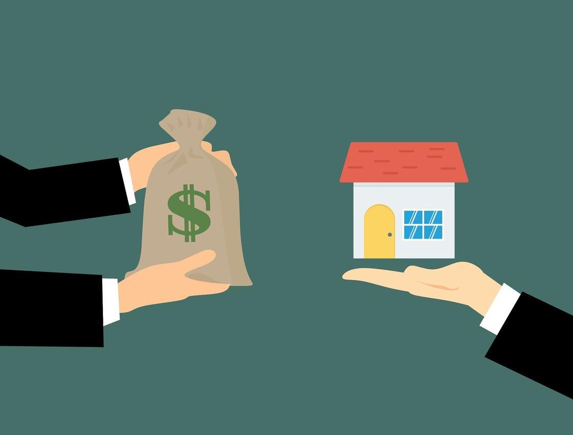 Мешочек с долларами обменивают на дом