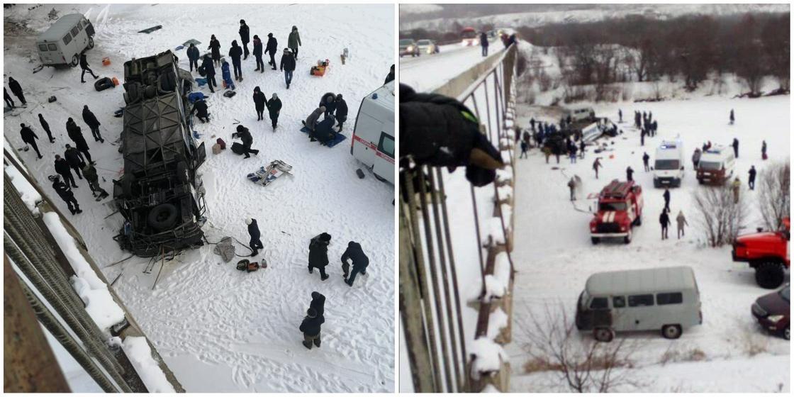 Ресейде автобус көпірден құлады: 18 адам қаза тапты (фото, видео)