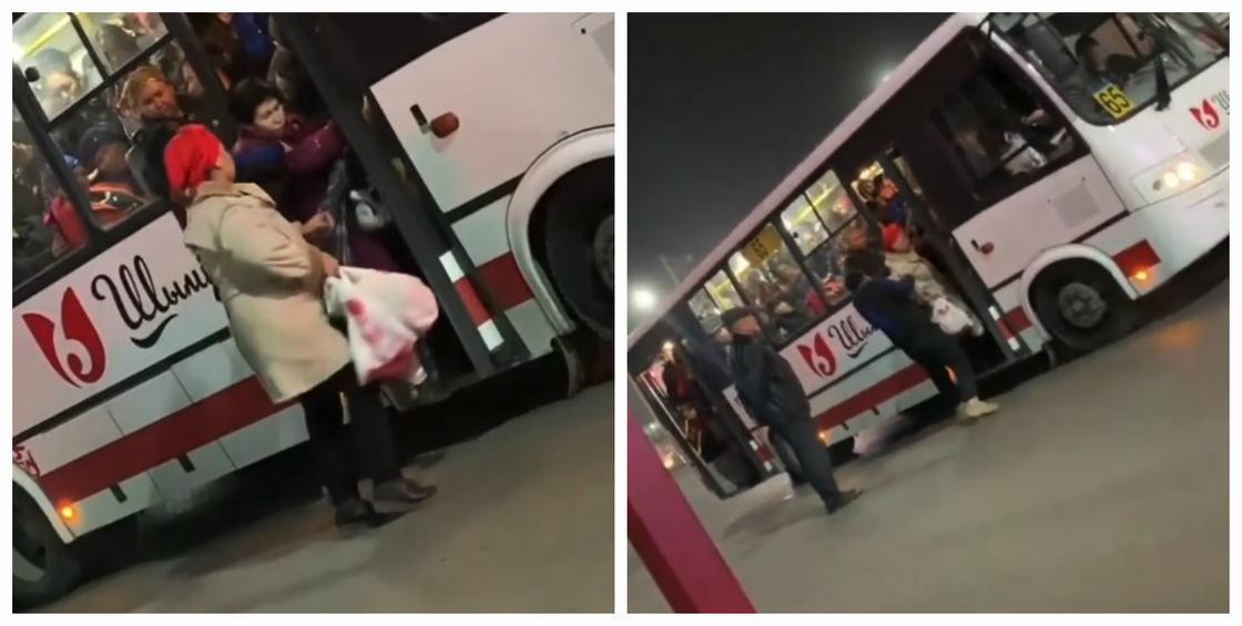 Хватал и выталкивал из автобуса: пользователей возмутило поведение мужчины в Шымкенте (видео)