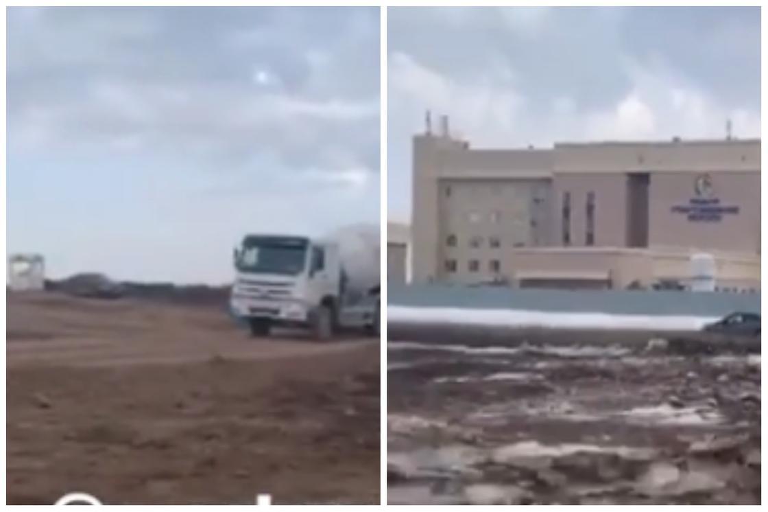 Строительство больницы в Нур-Султане сняли на видео