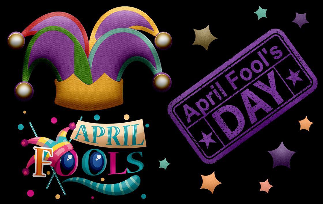 Шапка клоуна и надпись День смеха на английском