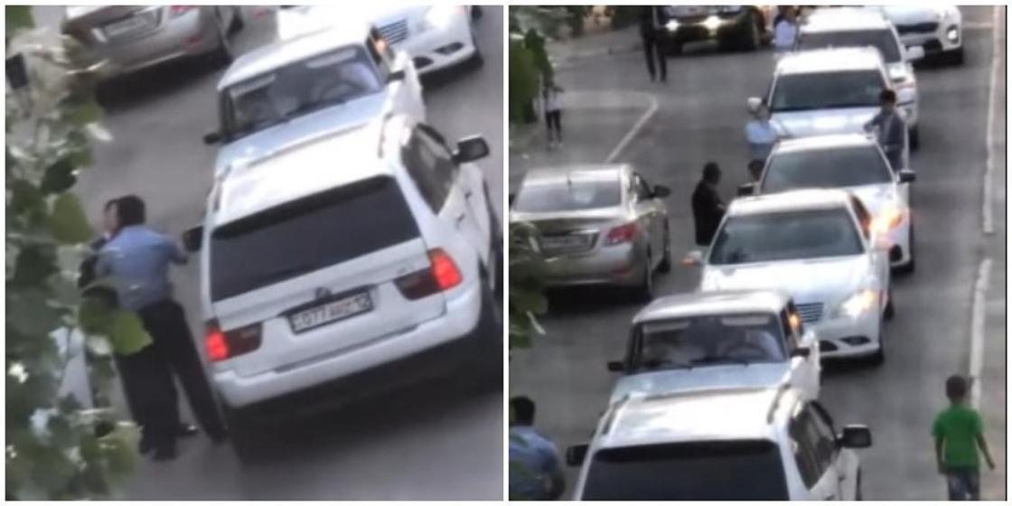 Сотрудник полиции в одиночку заблокировал свадебный кортеж в Актау (видео)