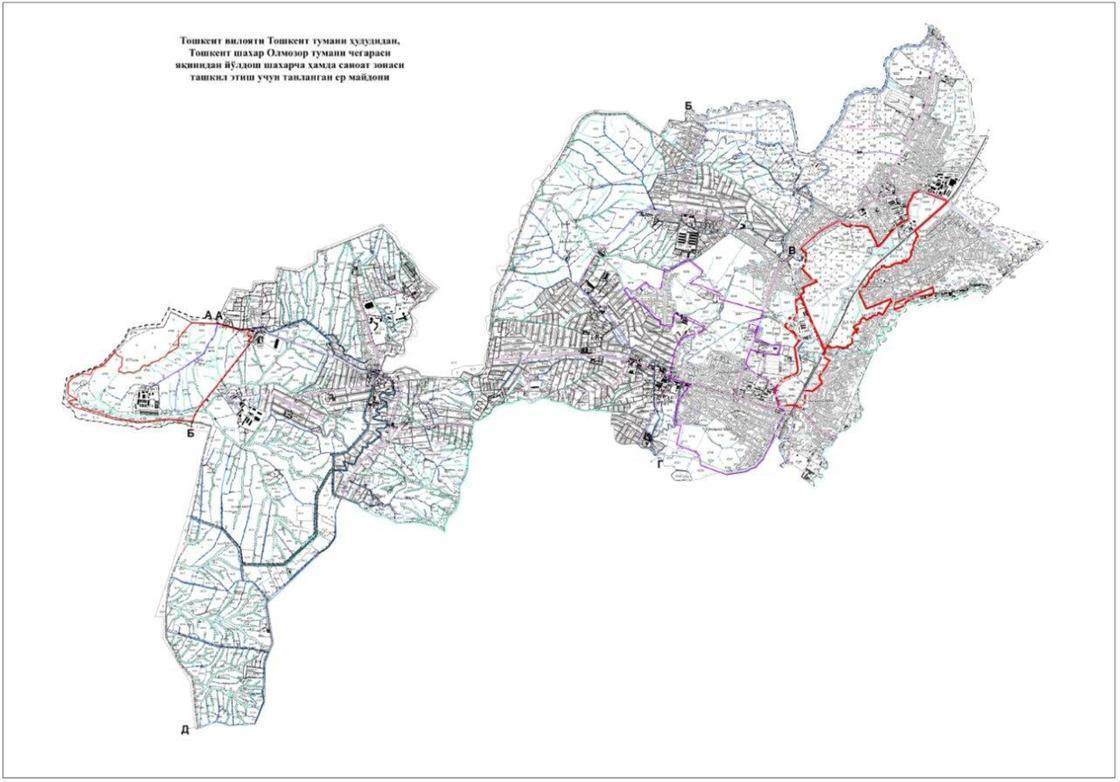 Территории Ташкентского района Ташкентской области, на которых планируется создать город-спутник и промышленную зону (выделены красным цветом)