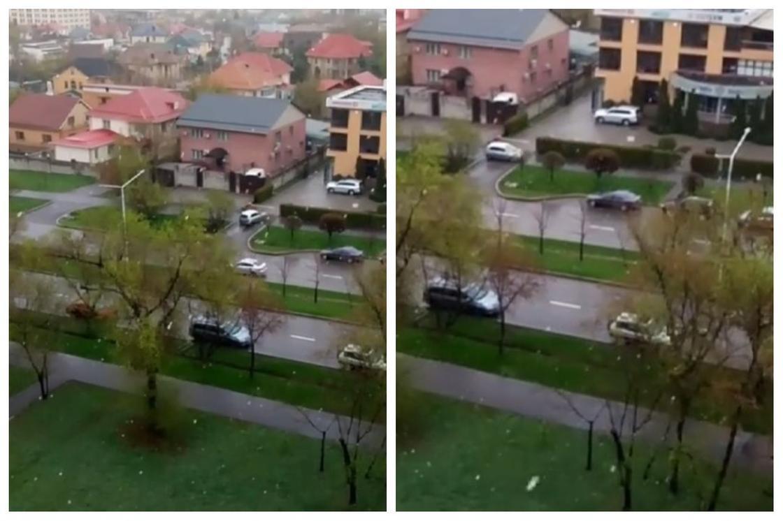 Снег пошел в Алматы (видео)